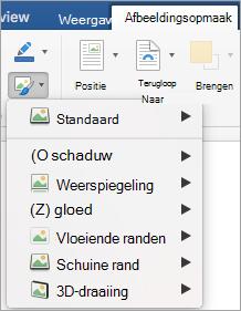 Toont de opties in het menu afbeeldingseffecten
