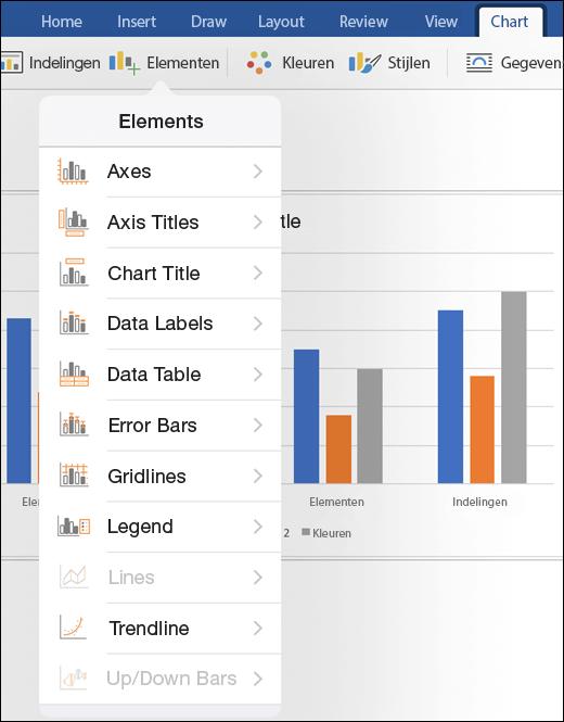 Klik op Elementen op het tabblad Grafiek van het lint om grafiekelementen in uw document aan te passen