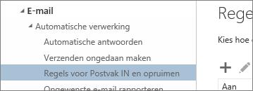 Schermafbeelding van Regels voor Postvak in en opruimen in het menu Opties