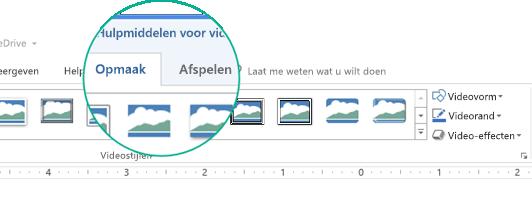 Wanneer een video op een dia is geselecteerd, wordt de sectie Hulpmiddelen voor video weergegeven op het werkbalklint met twee tabbladen: Opmaak en Afspelen.