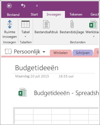 Schermafbeelding van een nieuw spreadsheet in OneNote 2016.