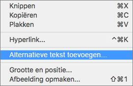 Contextmenu bij het toevoegen van alternatieve tekst aan een afbeelding in Outlook.