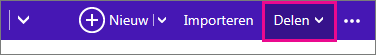 Outlook.com - klik op Delen om een agenda te kiezen