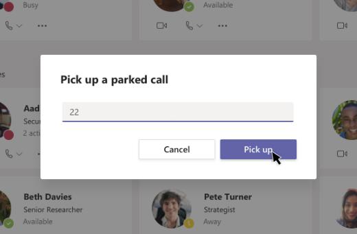 Een dialoog venster voor geparkeerde oproepen ophalen