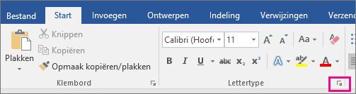 De pijl waarmee het dialoogvenster Lettertype wordt geopend, is gemarkeerd op het tabblad Start