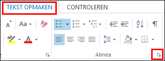 Het dialoogvenster Alinea in Outlook