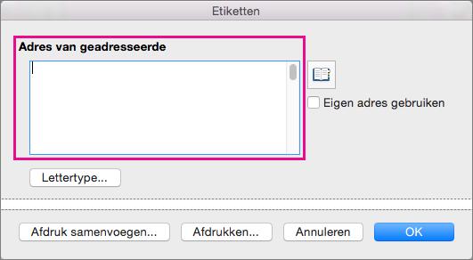 Wanneer u labels afdrukt, wordt de informatie in Adres van geadresseerde op elk label gezet.