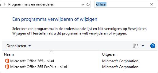 Toont twee geïnstalleerde exemplaren van Office in het Configuratiescherm