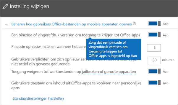 Zorg ervoor dat de optie Een pincode of vingerafdruk vereisen om toegang te krijgen tot Office-apps is ingeschakeld.