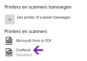 Notitieblok menu locatieselectie in OneNote voor Windows 10