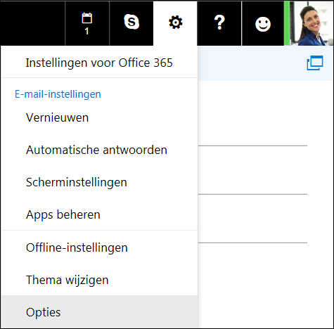 Opties voor instellingen in Outlook op het web