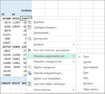 In een numeriek waardeveld in een draaitabel wordt standaard de functie Som gebruikt
