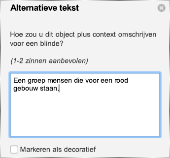 Deelvenster alternatieve tekst voor afbeeldingen in PowerPoint voor Mac in Office 365.