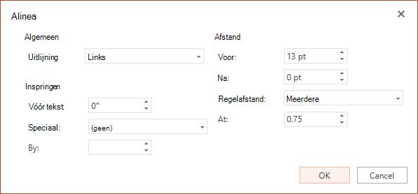 Het dialoogvenster alinea bevat opties voor de instelling horizontale uitlijning, inspringing op de linkermarge en regelafstand.