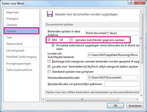 De optie Opslaan in het dialoogvenster Excel-opties