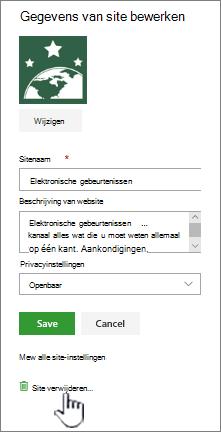 Sitelocatie voor verwijderen van SharePoint-Team site