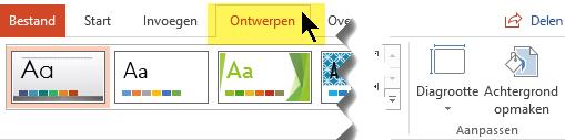 Selecteer het tabblad Ontwerpen op het werkbalklint. U kunt de stand van de dia kiezen onder de menuknop Diagrootte rechts.