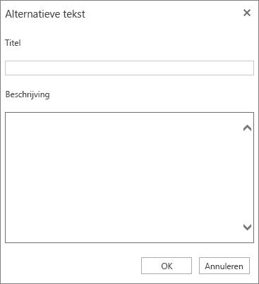 Schermafbeelding van het dialoogvenster Alternatieve tekst met de velden Titel en Beschrijving.