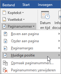 Kies in de groep Koptekst en voettekst de optie Paginanummer en kies vervolgens Huidige positie.