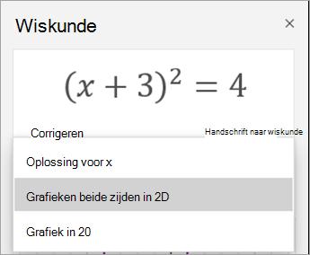 Een grafiek maken in 2D-optie in het deelvenster wiskundige