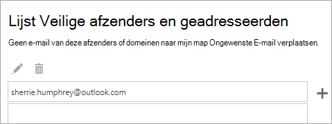 Schermafbeelding van het vak veilige afzenders en geadresseerden