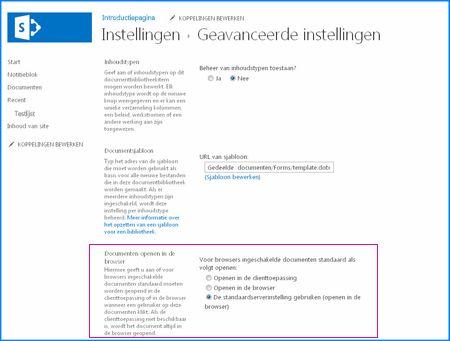 Schermafbeelding van de pagina Geavanceerde instellingen voor een documentbibliotheek in SharePoint