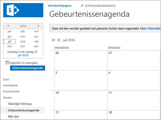 Voorbeeld van een agendalijst-app.
