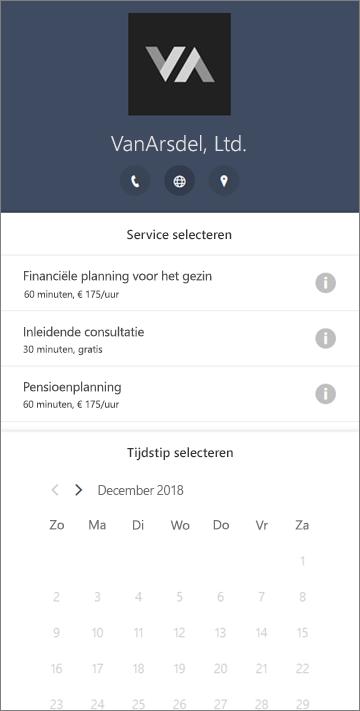 Een voorbeeld van een boekingsformulier voor een financiële dienst onderneming