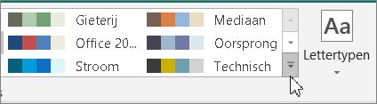 Klik op de pijl meer naast de galerie met kleurenschema