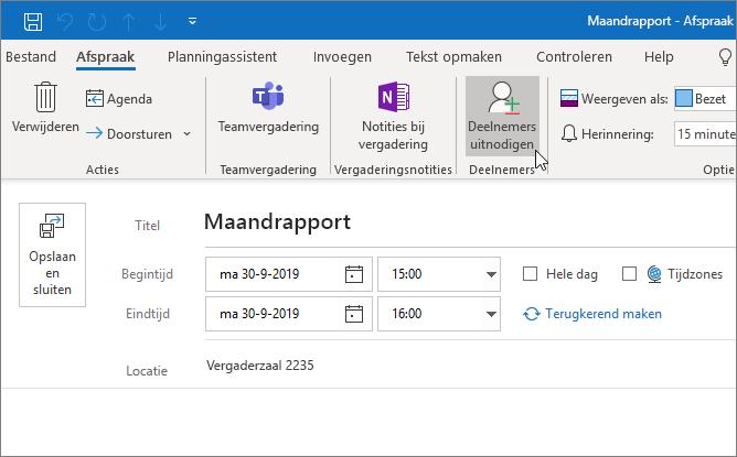 Een afspraak in Outlook plannen