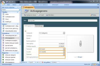 De databasesjabloon voor activa wijzigen