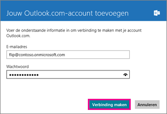 De pagina Een Outlook-account toevoegen in Windows 8 Mail