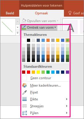 Hiermee worden kleuropties voor lijnen in Office weergegeven