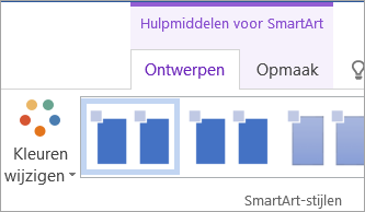De knop Kleuren wijzigen op het tabblad Hulpmiddelen voor SmartArt - Ontwerp