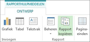 Knop Rapport kopiëren op het tabblad Rapporthulpmiddelen - Ontwerp