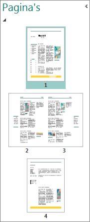 Deelvenster Paginanavigatie met zowel een enkele als een dubbele pagina.