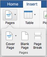 Opties in het menu pagina's