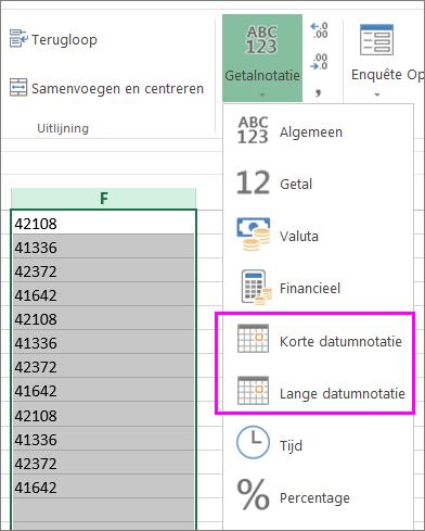 kolom met datums in tekstopmaak