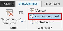 De optie Planningsassistent bevindt zich op het tabblad Vergadering.