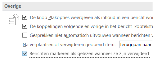 Selectievakje Berichten markeren als gelezen wanneer verwijderd, in het dialoogvenster Outlook-opties