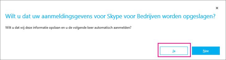 Klik op Ja om uw wachtwoord op te slaan zodat u zich de volgende keer automatisch kunt aanmelden.
