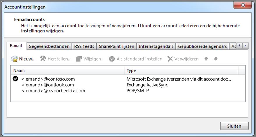 Controleren welk type account u hebt in het venster Accountinstellingen in Outlook