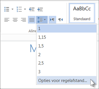 Menu Regelafstand in Word Web App