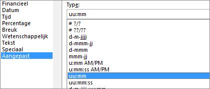 Dialoogvenster cellen opmaken, aangepaste opdracht, u:mm type