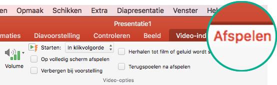 Wanneer een video is geselecteerd op een dia, wordt het tabblad Afspelen weergegeven op het werkbalklint waarmee u afspeelopties voor de video kunt instellen.
