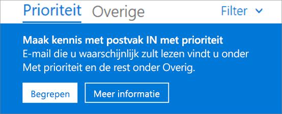Een afbeelding van hoe Postvak IN met prioriteit eruitziet als een gebruiker de webversie van Outlook voor het eerst opent.