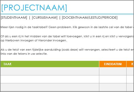 Oude sjabloon Lijst met projecttaken met een lettertype van minimaal 8,5 punt.