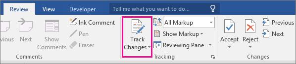 De optie Wijzigingen bijhouden is gemarkeerd op het tabblad Controle.
