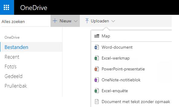 Schermafbeelding van het maken van een document op OneDrive.com