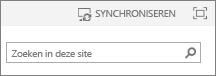 Synchronisatie-koppeling boven aan de pagina in SP2013